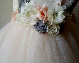 Blush flower girl dress, blush tulle dress, blush tutu dress, blush wedding, blush wedding dress, petal pink dress, girls blush dress,