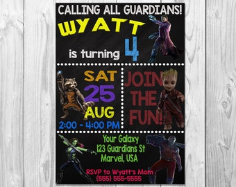 Guardians of the Galaxy Birthday Party Invitation, Guardians Birthday, Groot, Rocket Raccoon, Star Lord