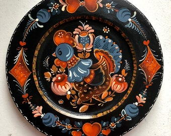 "10 "" Wooden plate,Os Rosemaling style"