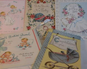 Vintage Baby girl congratulations  cards