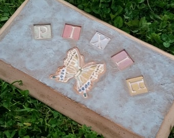 Custom - Pottery Pottery Garden Stone or Burial Grave Marker - Stoneware Clay - For Pet Memorial -  Beveled Rectangle Plaque - BUTTERFLY