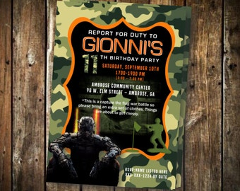 Customizable call of duty theme birthday party printable pack call of duty camo birthday printable invitation 5x7 filmwisefo Image collections