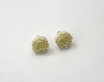 Cream Flower Earrings, Flower Stud Earrings