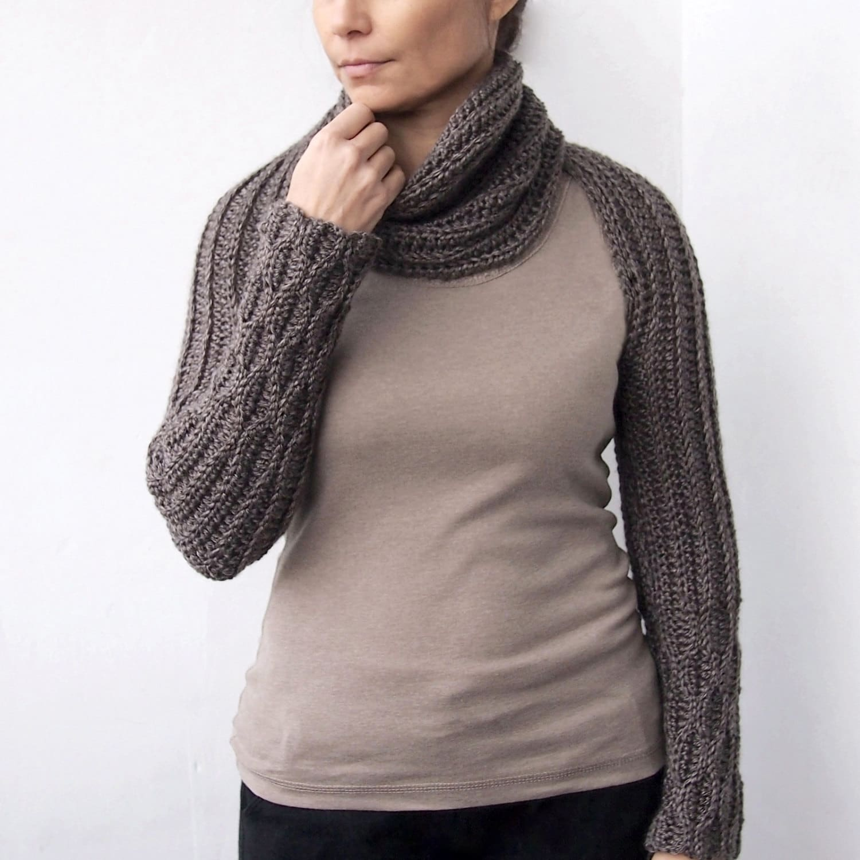 Crochet PATTERN(28) women long scarf, knit look long sleeves shrug ...
