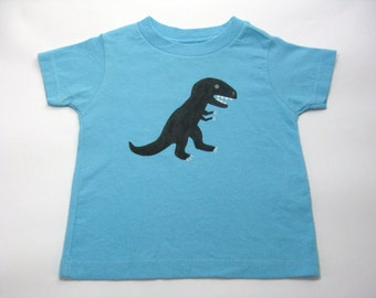 Dinosaur T Shirt, T Rex Tee or Top, Hand Painted, Short Sleeves, Baby and Toddler