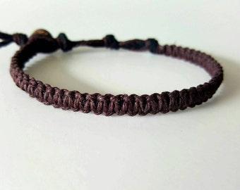 Dark Brown, Hemp Bracelet, Mahogany, Fall, Fashion, Style, Hemp Anklet, Indie Hemp Works, Hemp Jewelry, Aromatherapy, Natural, Bug Repellent