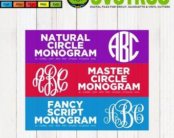 Circle Monogram SVG Master Circle SVG Fancy Monogram SVG Commercial Free Cricut Files Silhouette Files Cut File Bundle