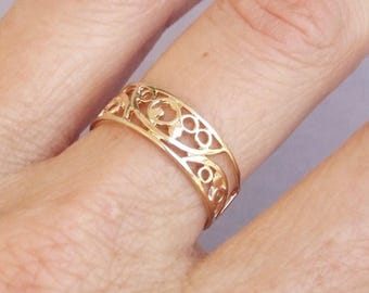 Gold Ring, Spiral Ring, Wide Band Ring, Ethnic Ring, Gold Plated Ring
