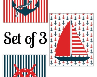 Nautical 8x10 Prints Navy and Red Set of 3 digital prints INSTANT DOWNLOAD