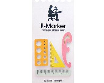 Sticky Notes - 4 design x 30, total 120 sheets - i-marker, post-it, sticky memo, book marks, ruler, Drawing ruler