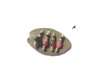 Spinel and tourmaline: 4 microphone charms 2 cm high x 5 mm in diameter