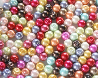 125 Pcs Glass 8mm Assorted Pearl Beads