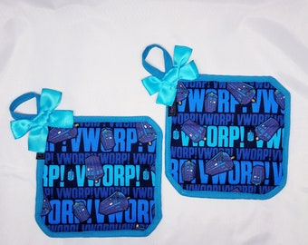 All the Blue Dr Who Pot Holders!