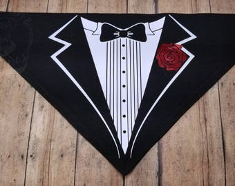 Formal Tuxedo V-Shirt. Black cotton graphic over-the-collar bandana for dogs. Wedding. Best Dog. Formal. Ironic.