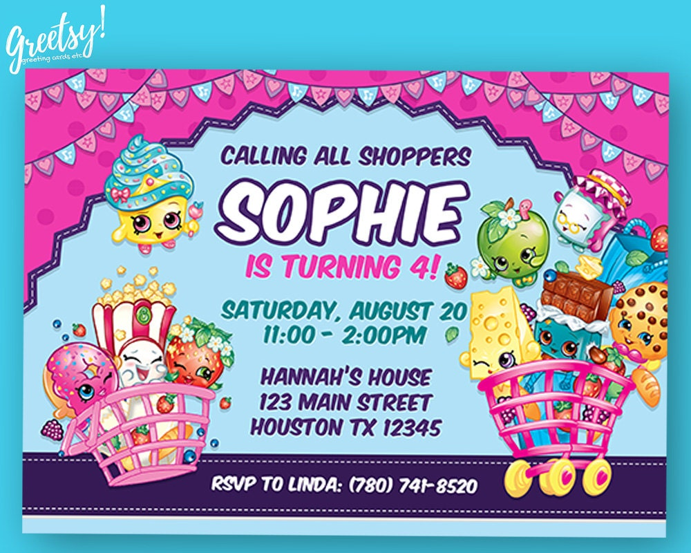 Shopkins Invitation Shopkins Birthday Shopkins Party