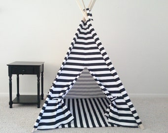 Kids Teepee With Mat,  Kids Tent with Mat black and white Teepee Play Tipi Made to Order Black and White Horizontal Stripe play Tent