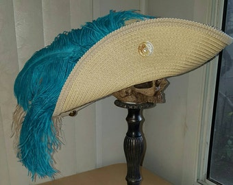 Light beige straw pirate hat