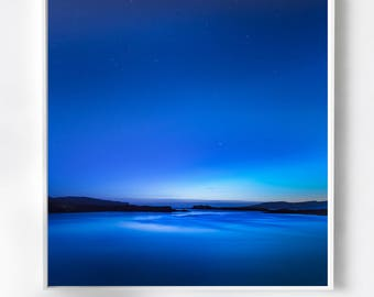 Extra large wall art- Limited Edition Signed Fine Art Print, Oversized Wall Art, Stars over water, Blue Sky - Scottish Photography