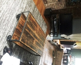 Vintage Industrial Coffee Table on Steel Casters. Reclaimed Wood & Recycled Steel
