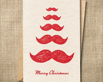 Santa Christmas Card, Funny Christmas Card, Funny Holiday Card, Mustache Christmas Card, Christmas Cards Set, Christmas Cards Funny