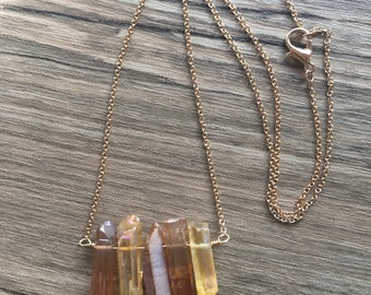 Raw Quartz Crystal Necklace / Pendant Necklace / Crystal Choker / Crystal Pendant Necklace / Raw Quartz / Five Crystal Necklace