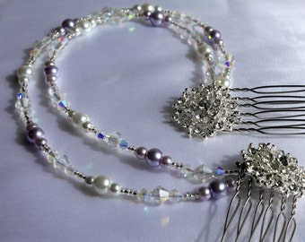 Purple hair chain accessory, white and purple pearl diamante hair chain, diamante mini combs, pearl head chain, long bridal pearl hair drape