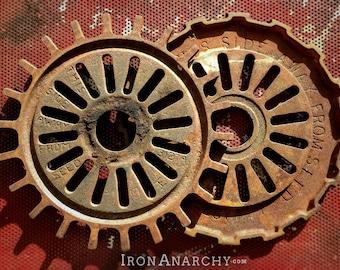 2 Industrial Gears, Antique Cast Iron