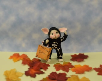 """Needle Felted """"Trick Or Treat"""" Bunny Skeleton!.............Free Shipping In The U.S."""