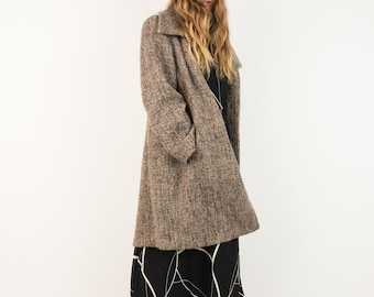 VINTAGE CALVIN KLEIN Brown Boucle Oversized Wool Coat / S / hipster jacket coat womens outerwear overcoat oversized coat tweed beige tan