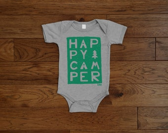 Baby Bodysuit / Happy Camper Print / Printed by Hand / Athletic Heather Bodysuit / Green Print / 3 month / 6 month / 12 month / 18 month