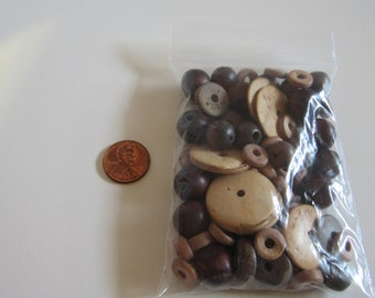 Large Wood Beads, Mixed Lot Wood Beads, 10mm to 24mm, Destash Beads