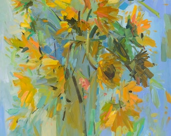 Tall Sunflowers, Archival Print by Amy Brnger
