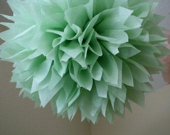 CELEDON / tissue paper pompom / vintage romantic boho wedding decorations st patricks day sage celery green pompoms decor baby boy shower
