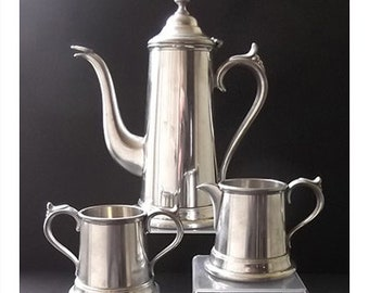Vintage Worcester Pewter Coffee Pot, Cream and Open Sugar
