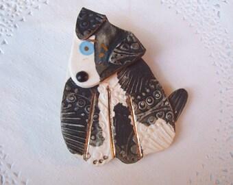 Dog Magnet (722) - Dog Refrigerator Magnet - Dog jewelry - Puppy dog brooch - repurposed jewelry