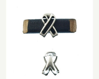 On Sale NOW 25%OFF Awareness Sliders For 10x6mm Licorice Leather  Antique Silver Z1768 Qty 2