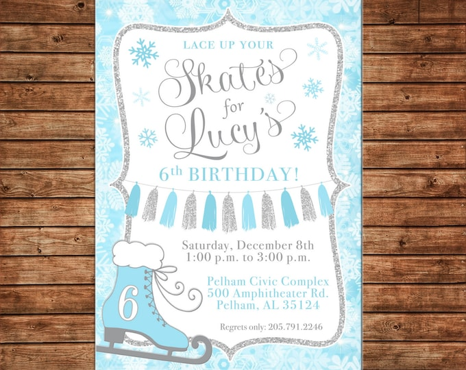 Girl Invitation Frozen Ice Skating Snow Silver GlitterBirthday Party - Can personalize colors /wording - Printable File or Printed Cards