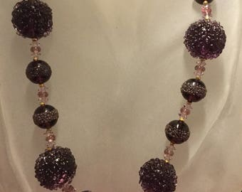 MIRIAM Haskell Amethyst Glass Sugared Beads Necklace