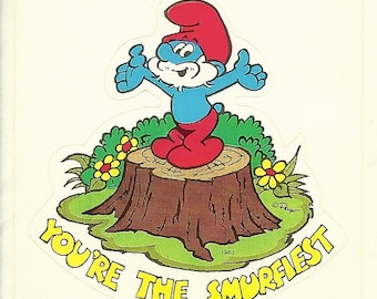 """Vintage 80's Papa Smurf  """"You're the Smurfiest """"  Sticker"""
