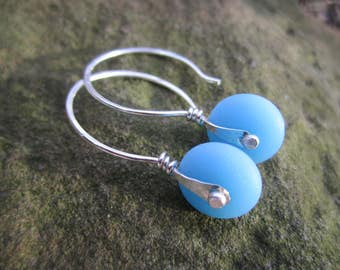 Industrial Riveted Sea Glass Earrings, Sterling Silver and Frosted Glass