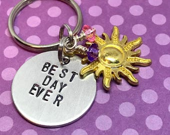 "Tangled Rapunzel Inspired Hand-Stamped Keychain - ""Best Day Ever"""