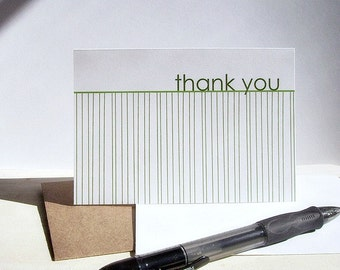 Modern Thank You Cards - Spring Green Thank You Notes, White Green Stripe Note Card Set, Earthy Thank You Cards, Spring Summer Minimalist