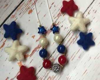 Red white and blue star patriotic Bubblegum Necklace- 4th of July- Red White & Beautiful Collection 2018