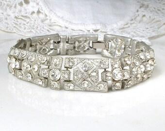 Art Deco Rhinestone Bracelet, Vintage Wedding Antique 1920s Wide Link Silver Pave Paste Crystal Bridal Bracelet, Statement Gatsby Jewelry
