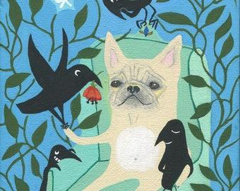 French  Bulldog & Crows Art Painting -  Original Dog and Bird Whimsical Outsider Folk Artwork Wall Decor Ready to Hang Canvas