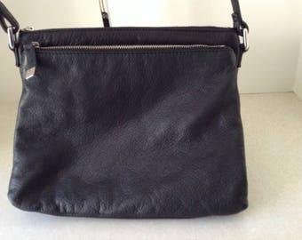 Genuine Black Leather Crossbody Shoulder Bag