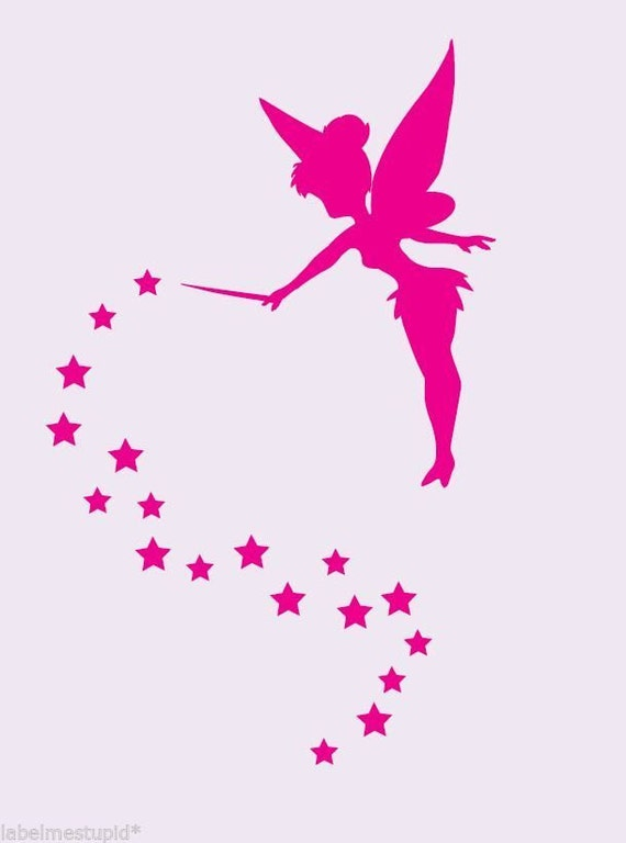 Tinkerbell Silhouette With Stars Wall Stickers Decal Free