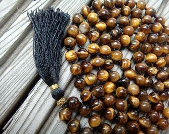 Tiger Eye Mala beads, 108 Mala Bead, Mala Necklace, Prayer Beads, Yoga Jewelry, Japa Mala, Meditation, Tiger eye Necklace