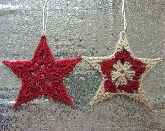 Red and Gold/Red Crochet Star Christmas Decorations/Star Christmas Tree Decorations