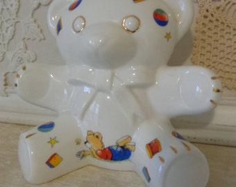 Vintage Royal Tara Fine Bone China Teddy Bear Bank, Ireland, Hand crafted in Galway, Ireland, Irish Piggy Bank
